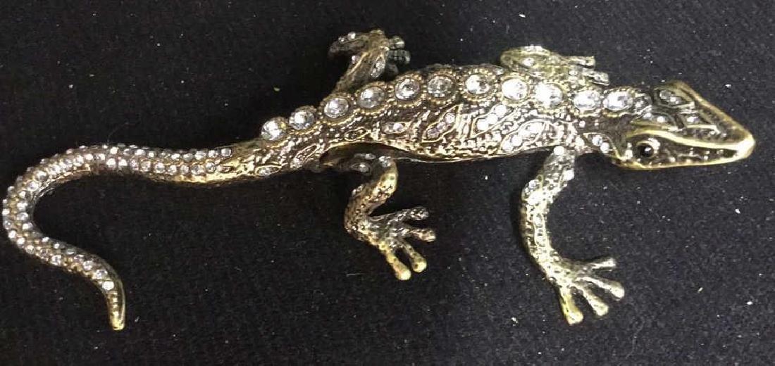 Lidded Rhinestone Enamel Lizard Box