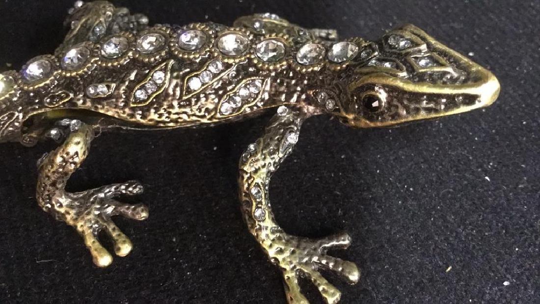 Lidded Rhinestone Enamel Lizard Box - 3
