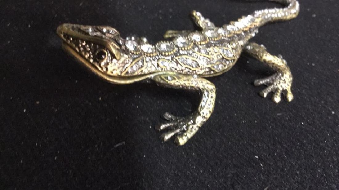 Lidded Rhinestone Enamel Lizard Box - 9