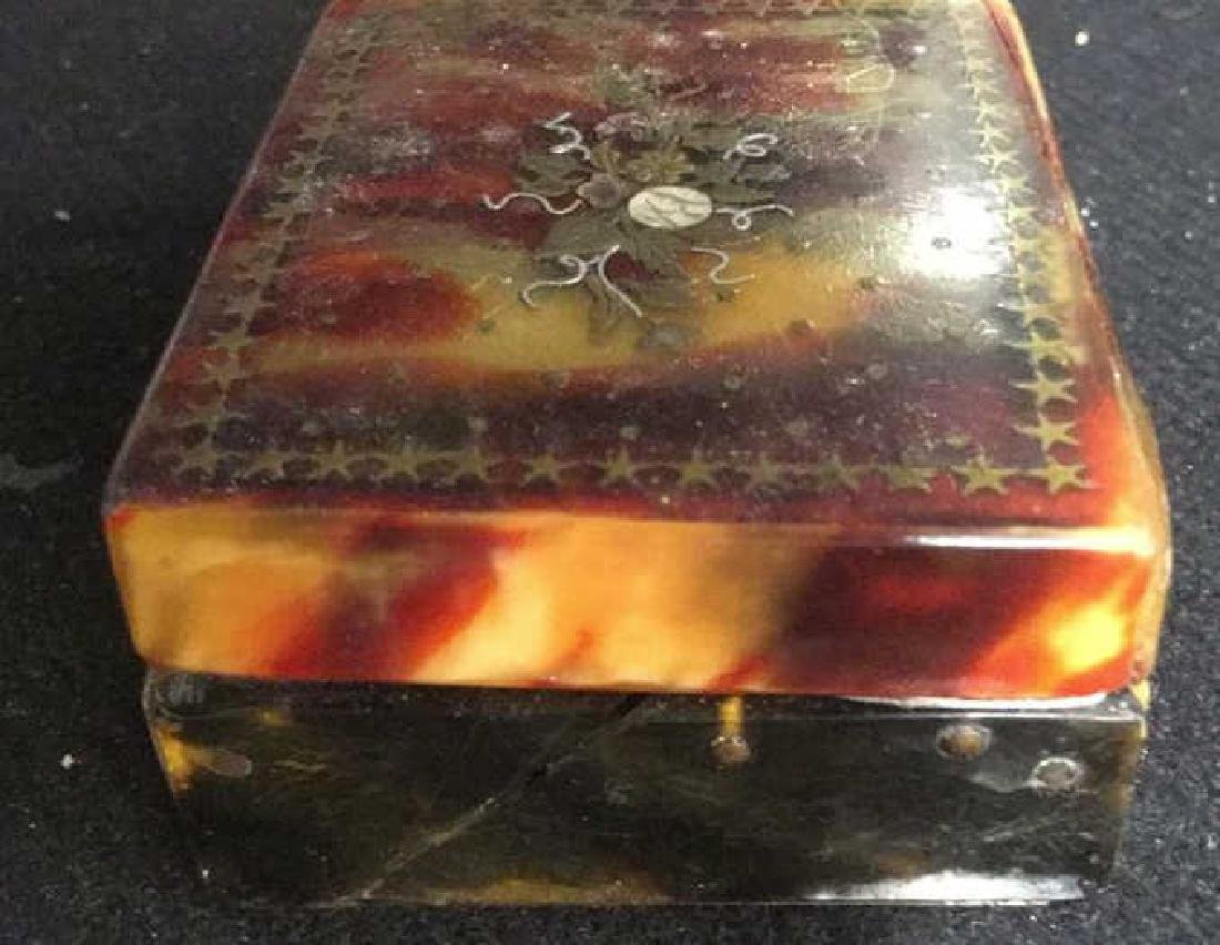 Antique Faux Tortoise Pill Box Inner Compartments - 10