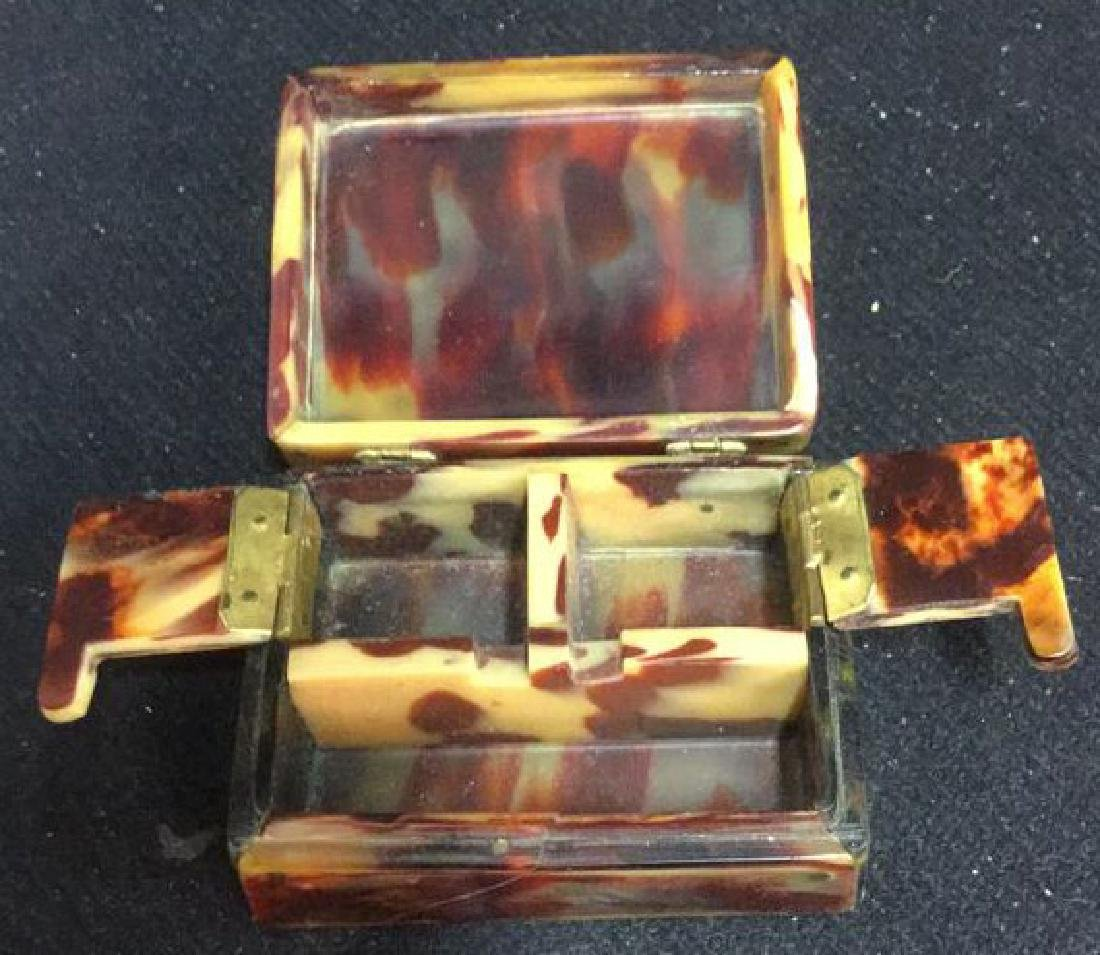 Antique Faux Tortoise Pill Box Inner Compartments