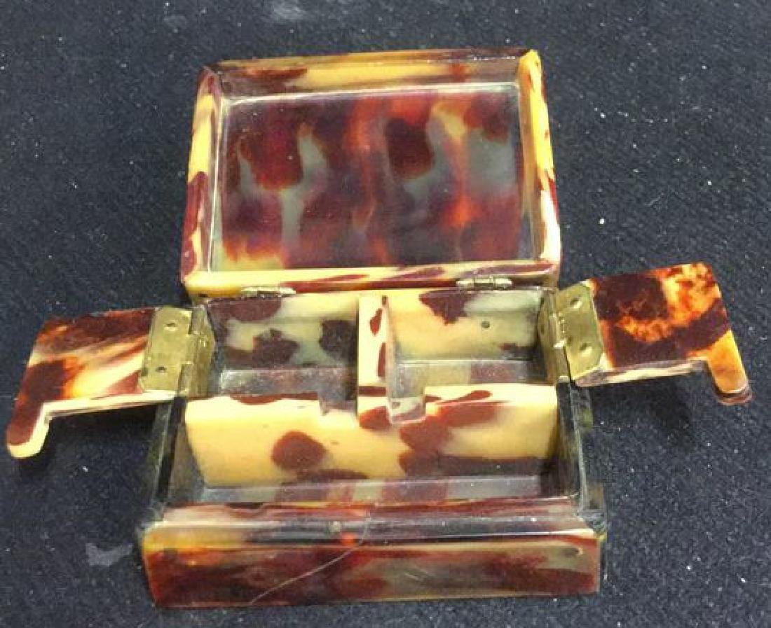 Antique Faux Tortoise Pill Box Inner Compartments - 2