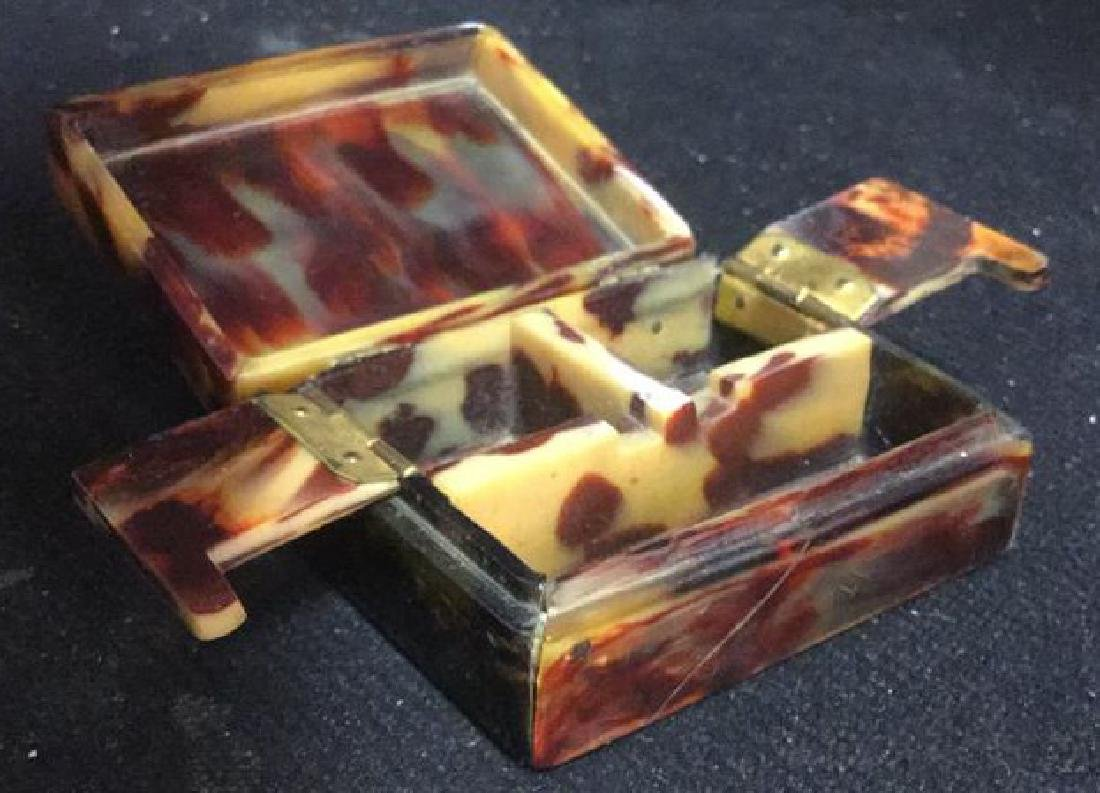 Antique Faux Tortoise Pill Box Inner Compartments - 3