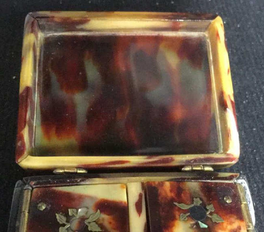 Antique Faux Tortoise Pill Box Inner Compartments - 5