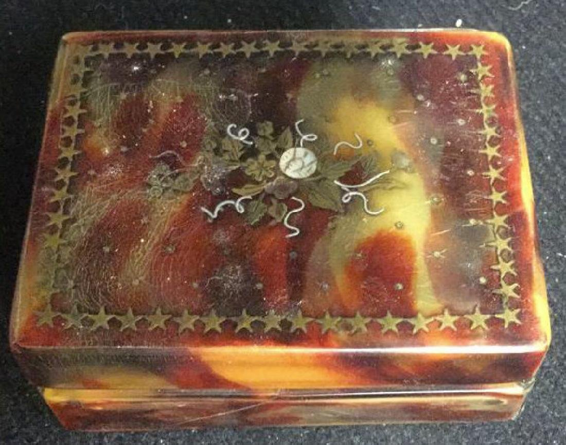 Antique Faux Tortoise Pill Box Inner Compartments - 6