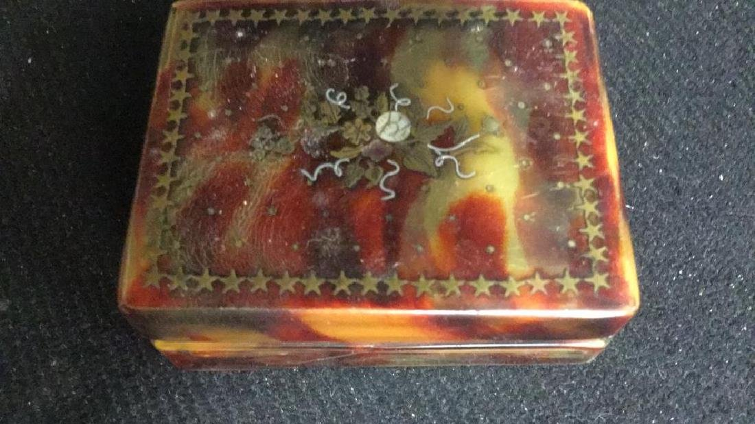 Antique Faux Tortoise Pill Box Inner Compartments - 7
