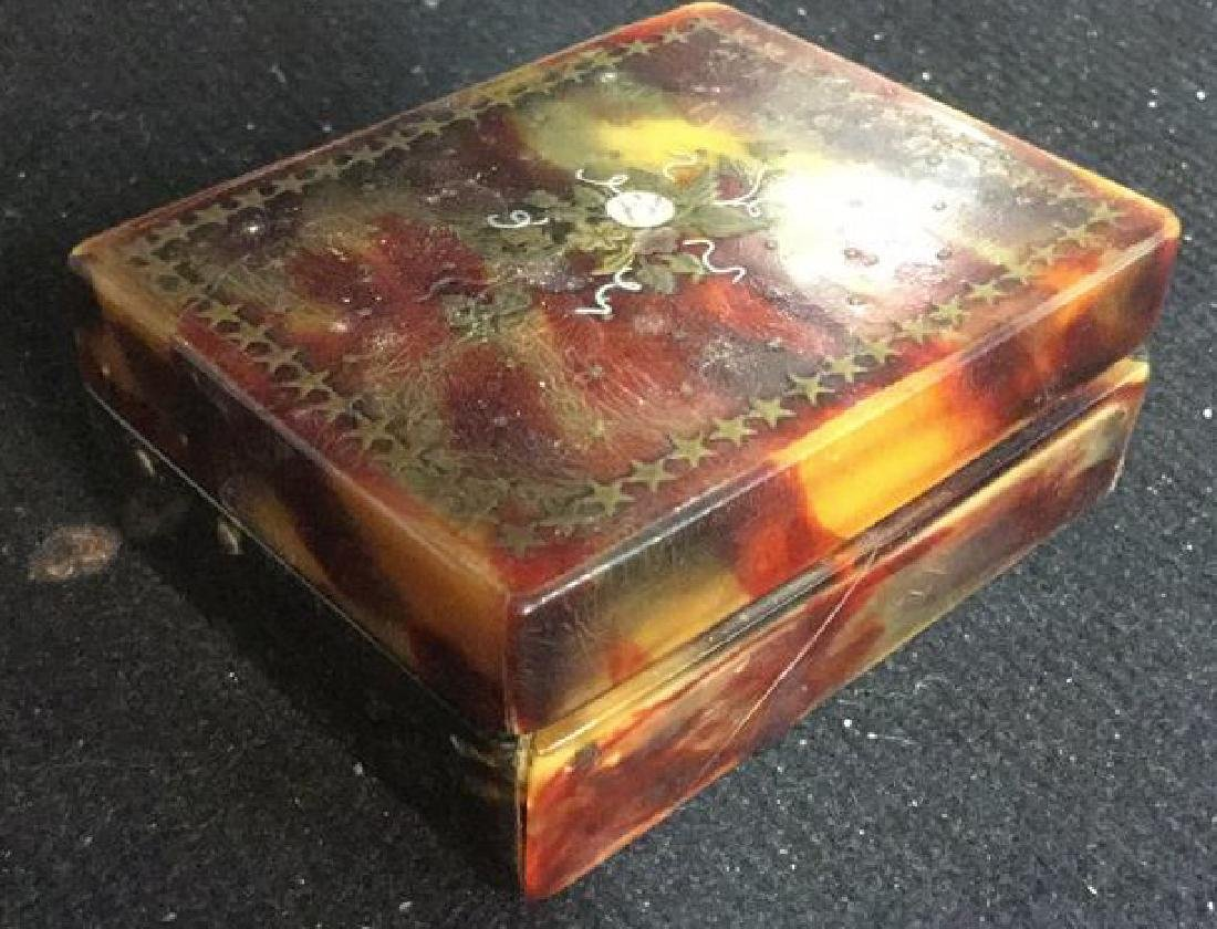Antique Faux Tortoise Pill Box Inner Compartments - 8