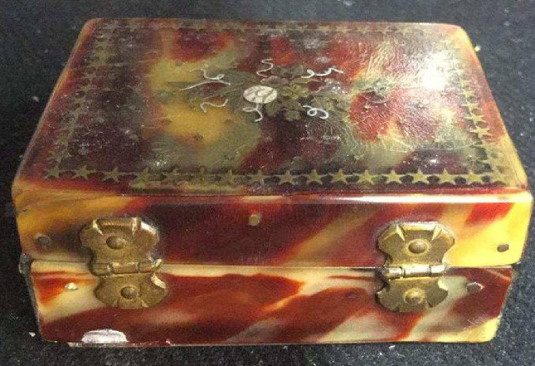 Antique Faux Tortoise Pill Box Inner Compartments - 9
