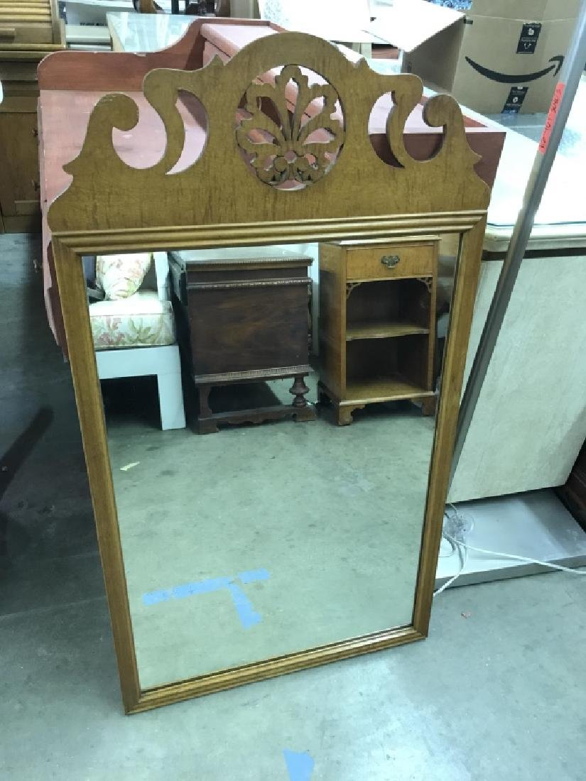 Vintage Carved Wood Frame Mirror - 2