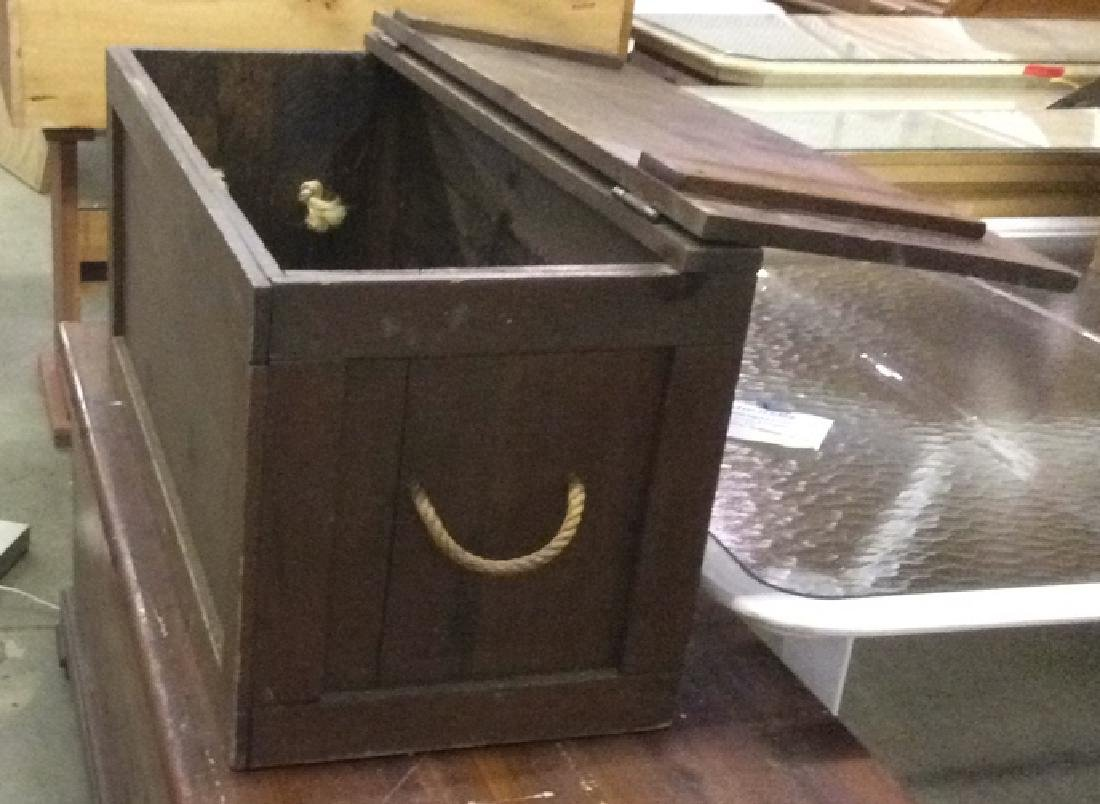 Antique Outdoor/Indoor Wood Chest w Rope Handles - 2