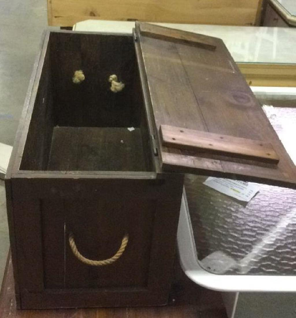 Antique Outdoor/Indoor Wood Chest w Rope Handles - 3