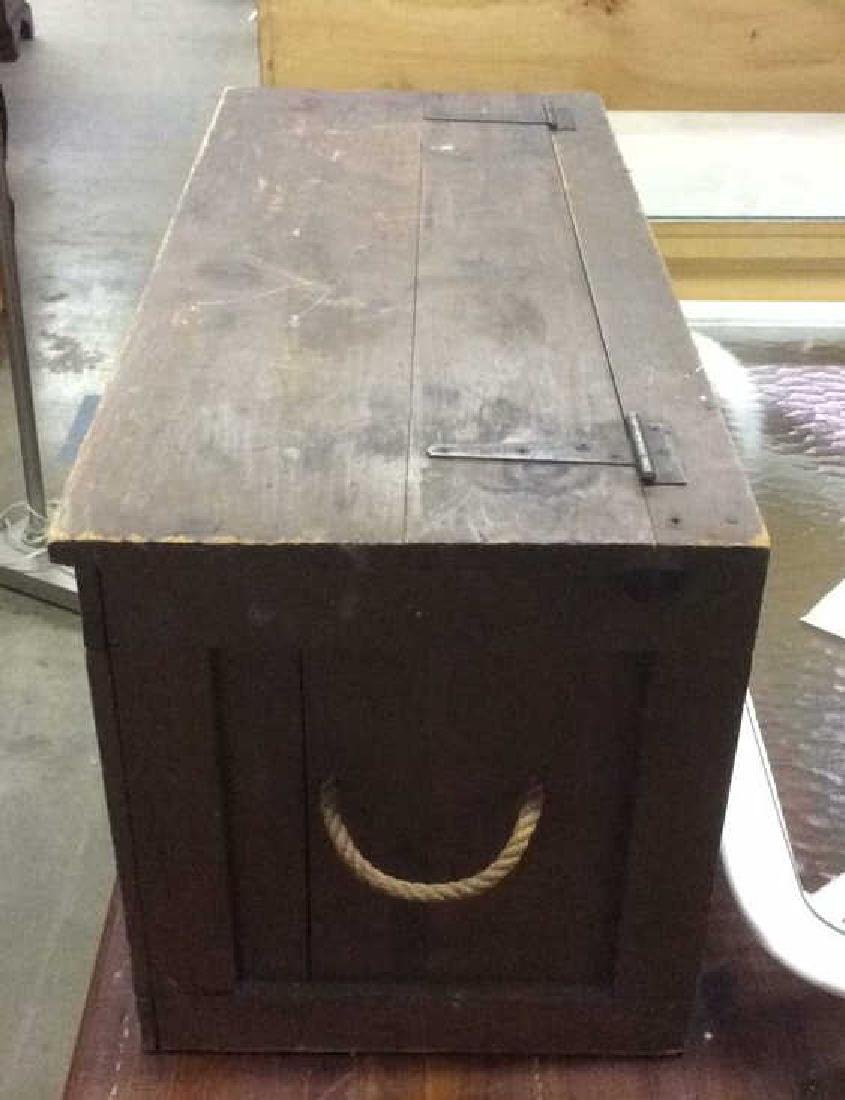 Antique Outdoor/Indoor Wood Chest w Rope Handles - 4