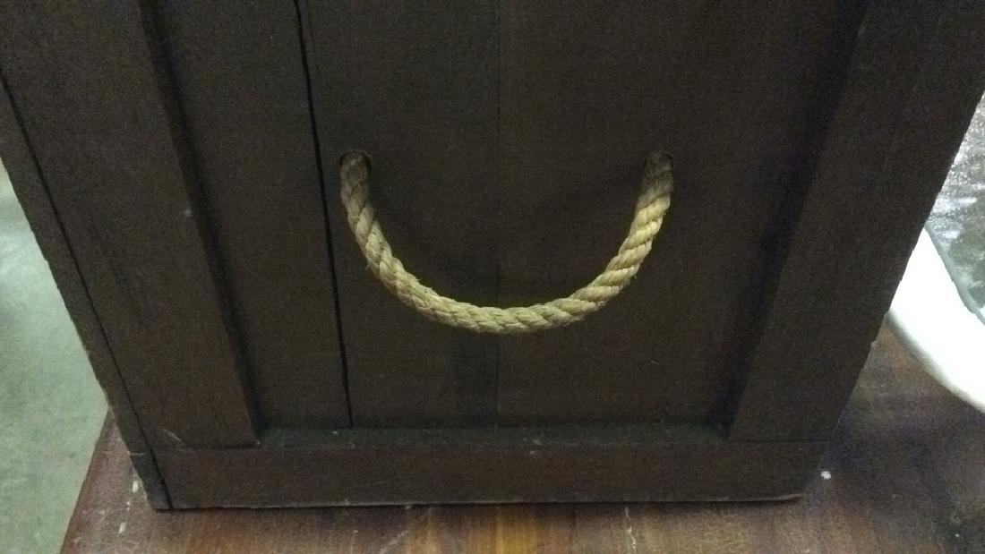 Antique Outdoor/Indoor Wood Chest w Rope Handles - 7