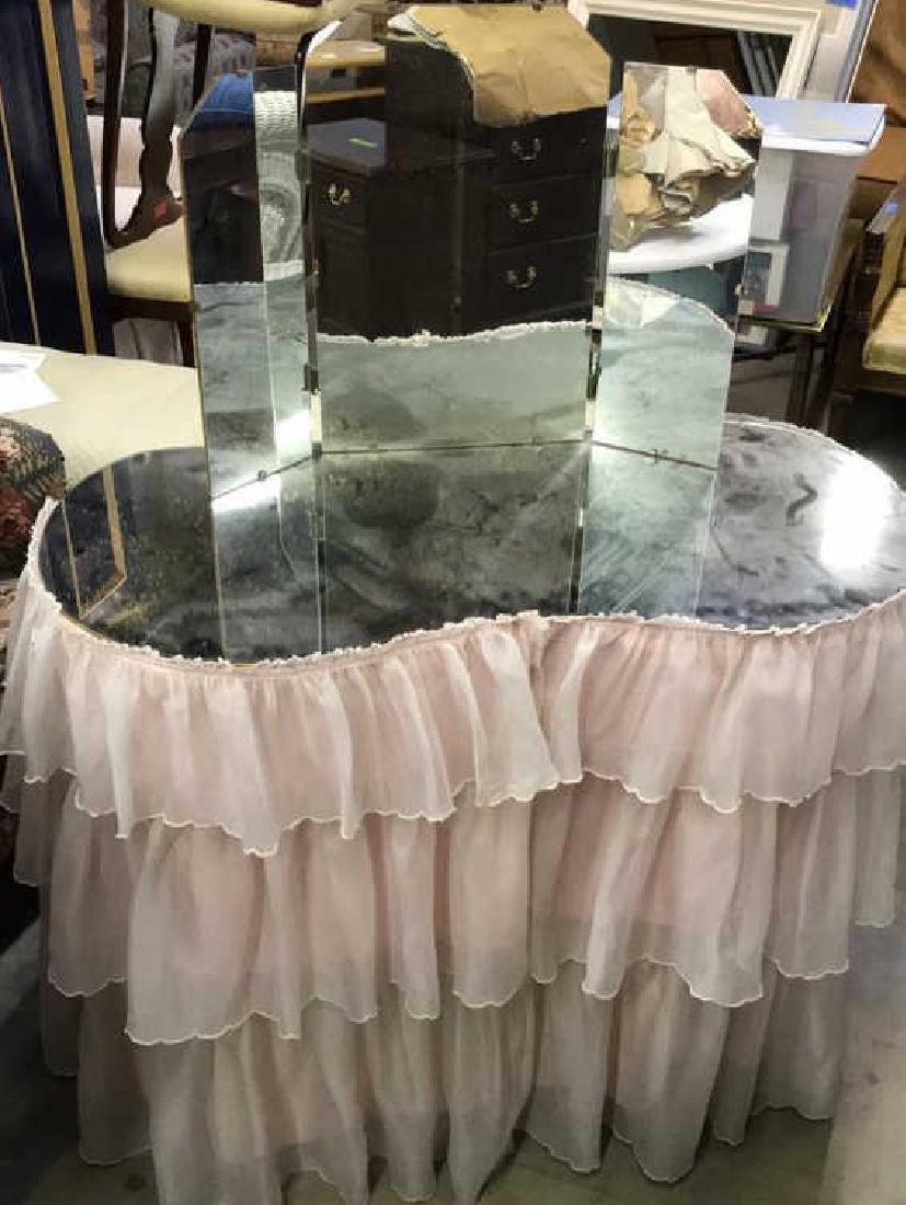Skirted Vanity Table W Mirror Top