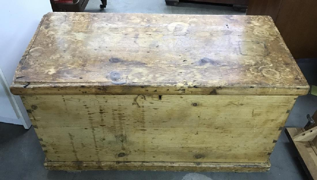 Antique Pine Wooden Chest Table Trunk - 2