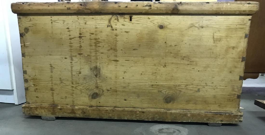 Antique Pine Wooden Chest Table Trunk - 3