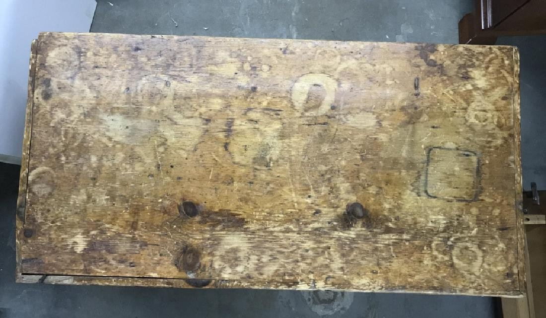 Antique Pine Wooden Chest Table Trunk - 5