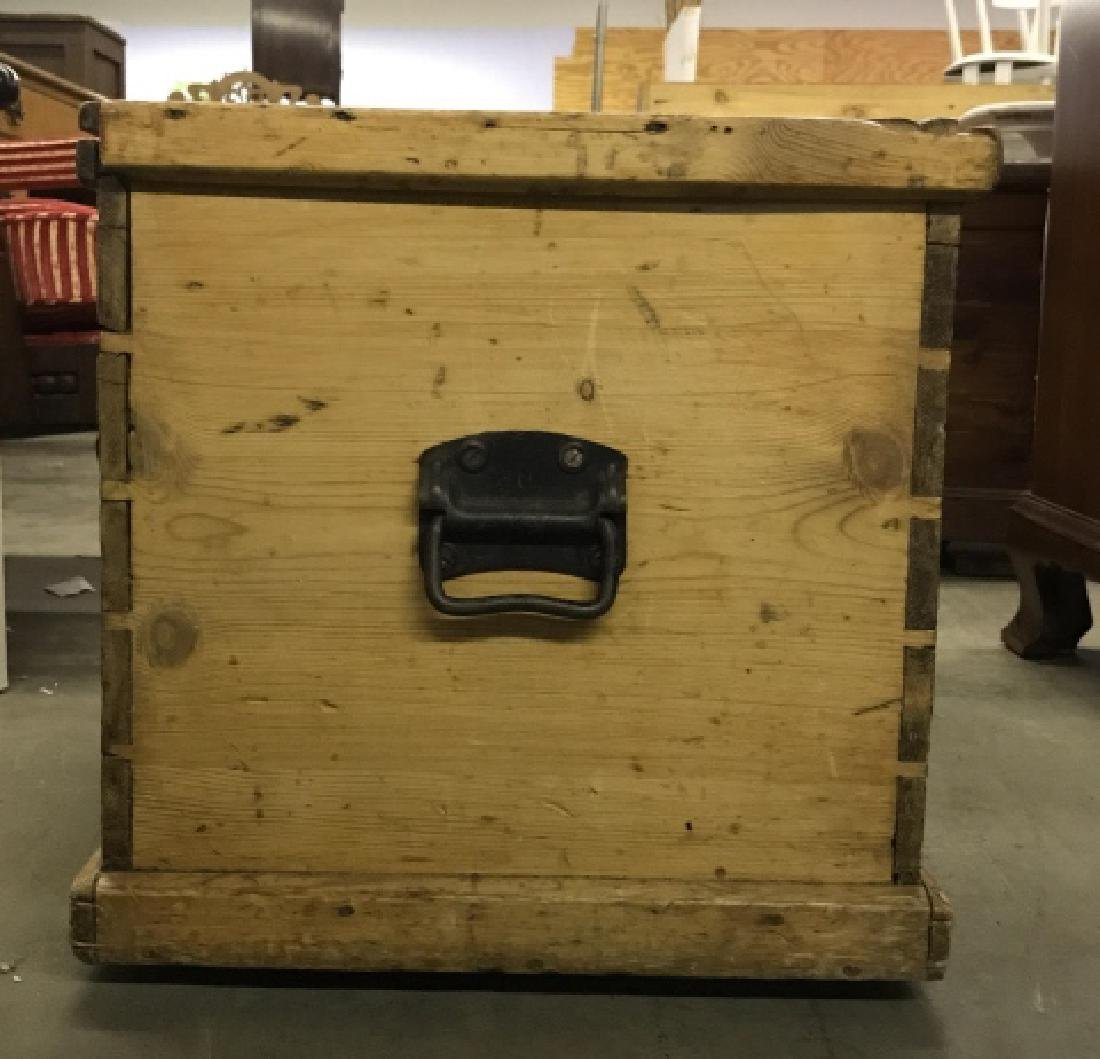 Antique Pine Wooden Chest Table Trunk - 8