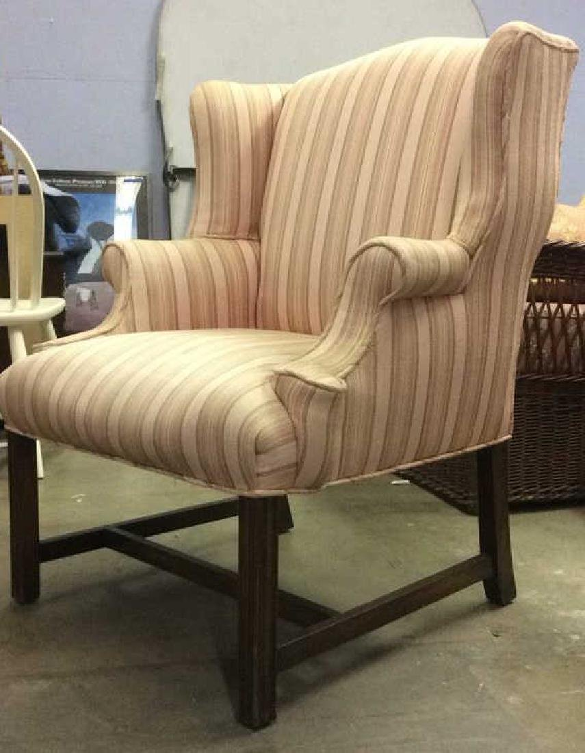 Striped Pink Toned Upholstered Wing Chair