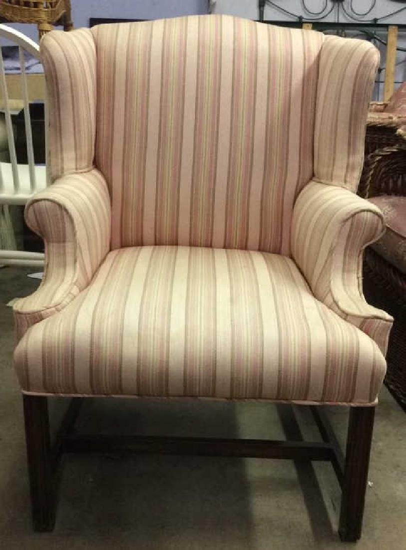 Striped Pink Toned Upholstered Wing Chair - 2