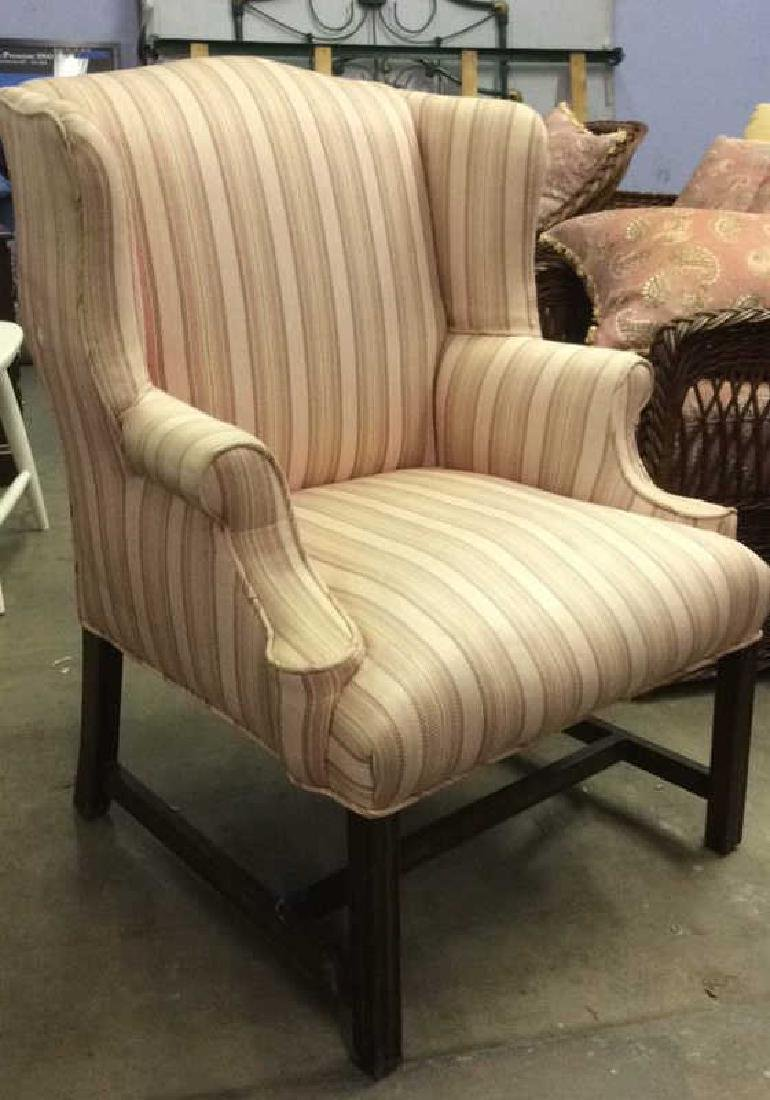 Striped Pink Toned Upholstered Wing Chair - 3