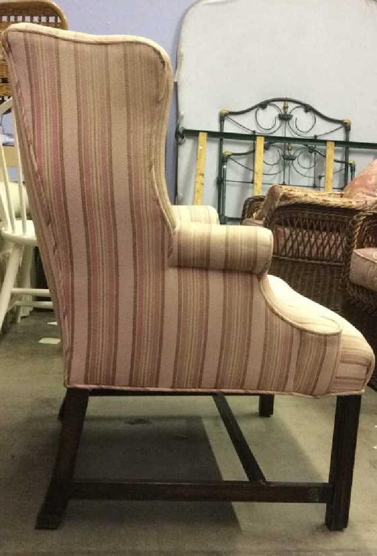 Striped Pink Toned Upholstered Wing Chair - 4