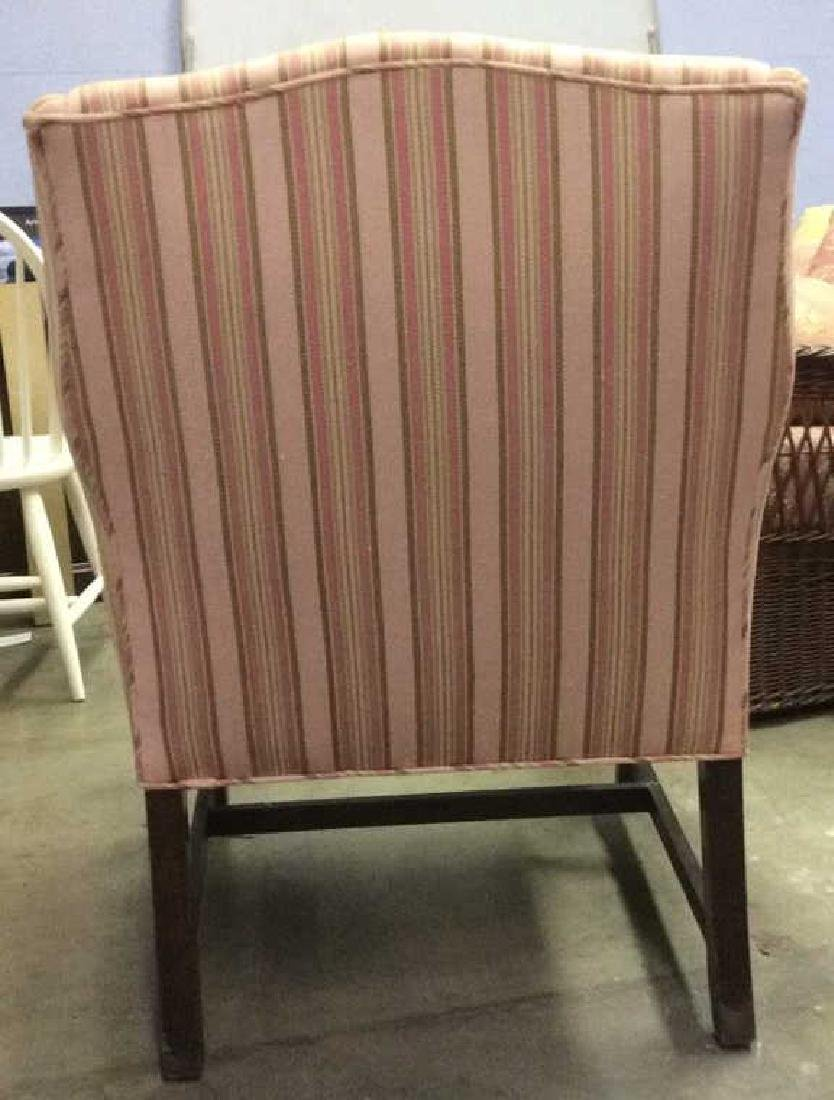 Striped Pink Toned Upholstered Wing Chair - 5
