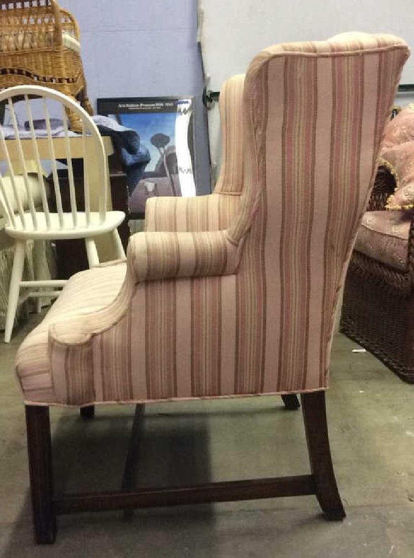 Striped Pink Toned Upholstered Wing Chair - 6