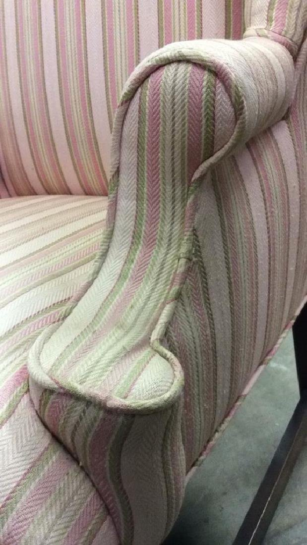 Striped Pink Toned Upholstered Wing Chair - 8