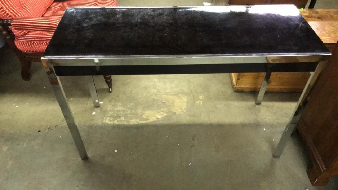 Mid Century Modern Black and Chrome Console table - 2