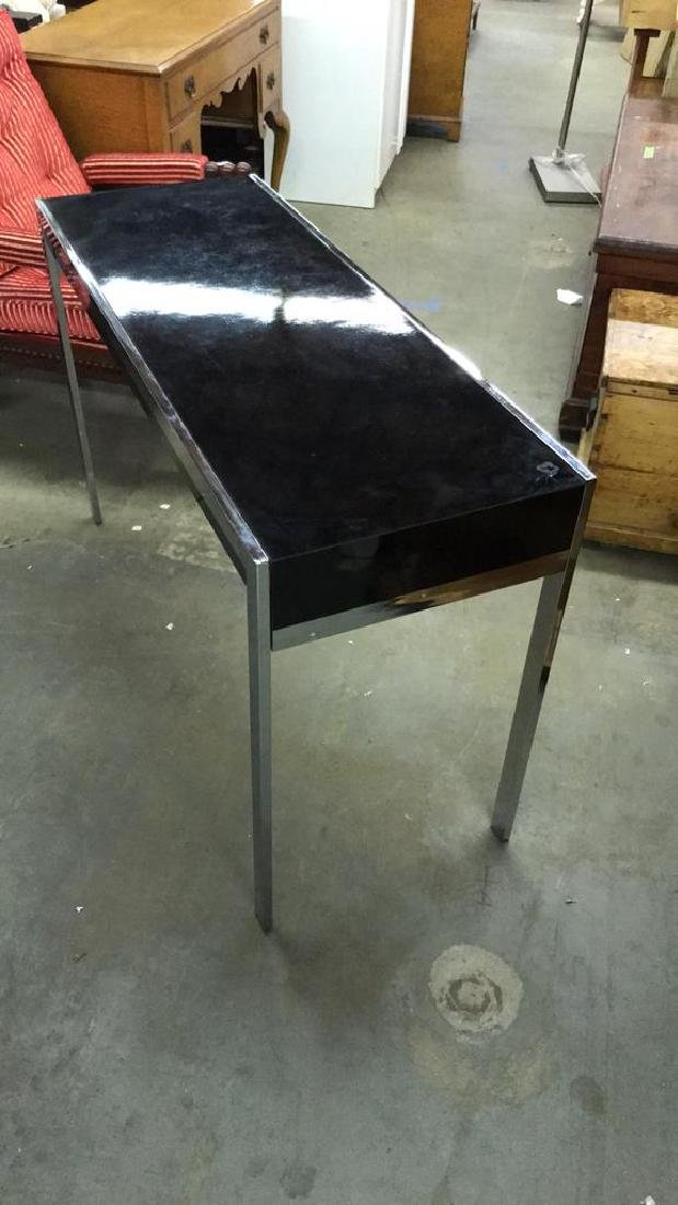 Mid Century Modern Black and Chrome Console table - 5
