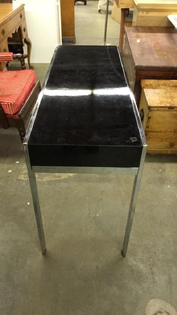 Mid Century Modern Black and Chrome Console table - 7