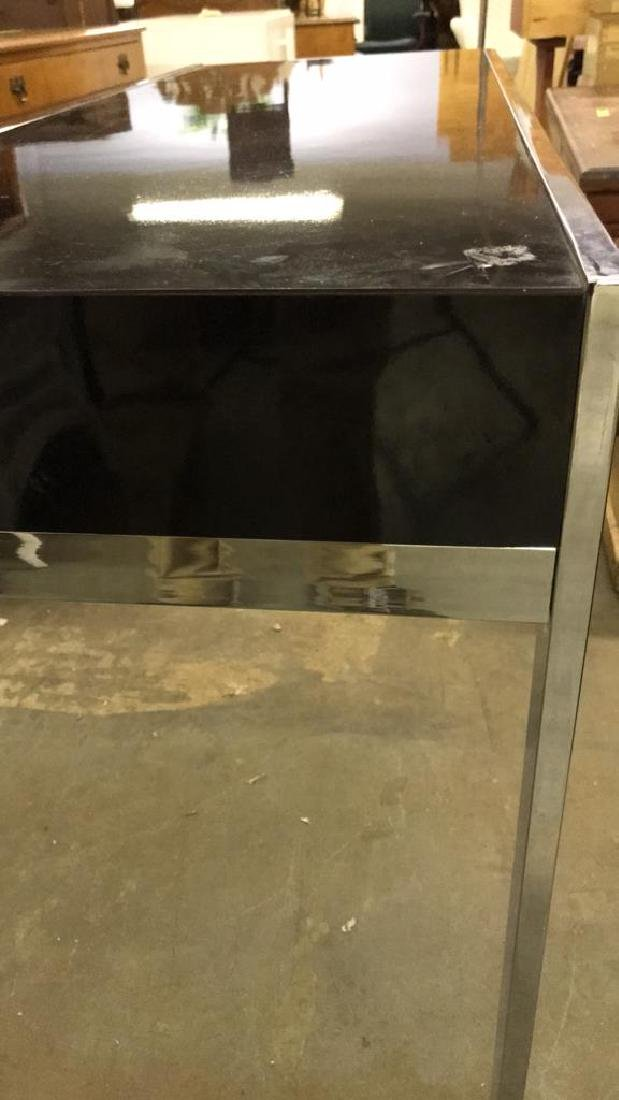 Mid Century Modern Black and Chrome Console table - 8