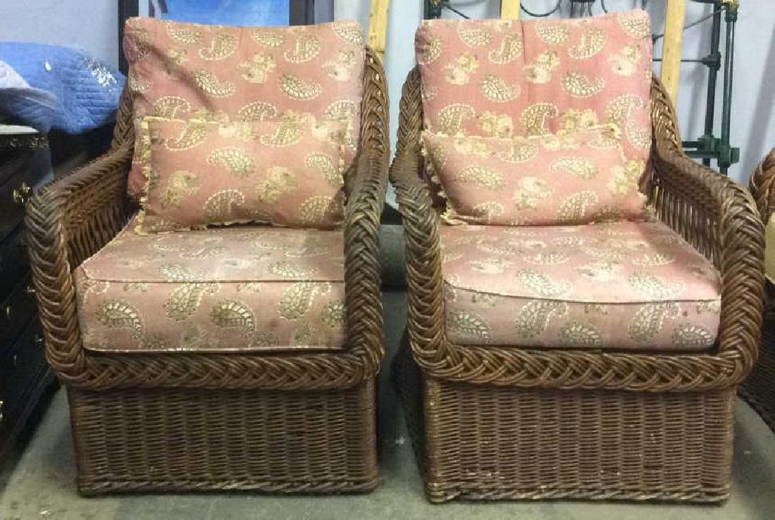 Vintage Set Wicker Rattan Arm Chairs W Cushions