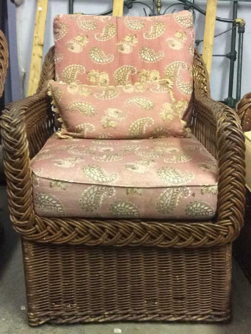 Vintage Set Wicker Rattan Arm Chairs W Cushions - 2