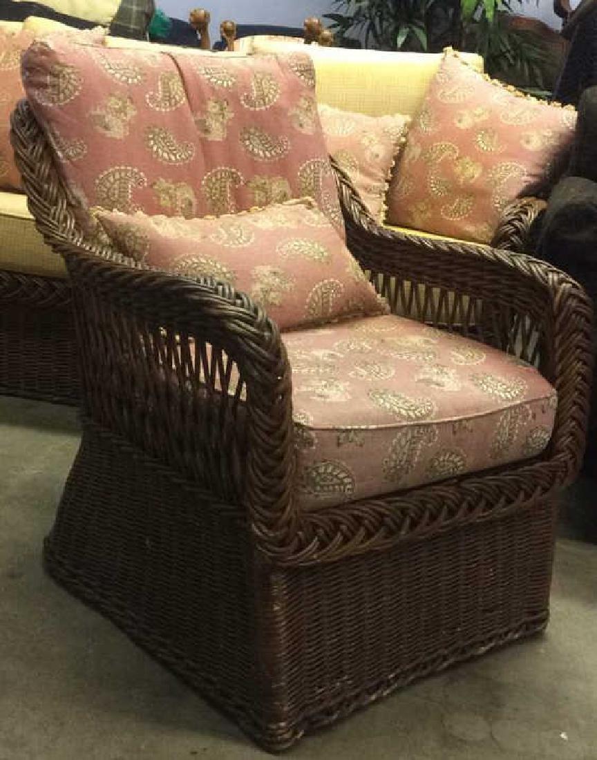 Vintage Set Wicker Rattan Arm Chairs W Cushions - 3