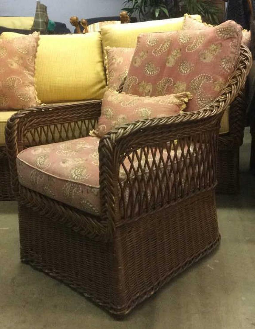 Vintage Set Wicker Rattan Arm Chairs W Cushions - 4