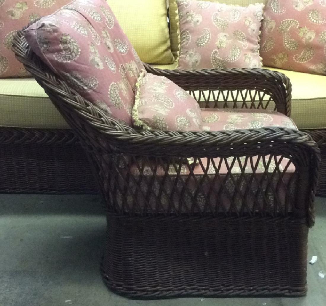 Vintage Set Wicker Rattan Arm Chairs W Cushions - 6