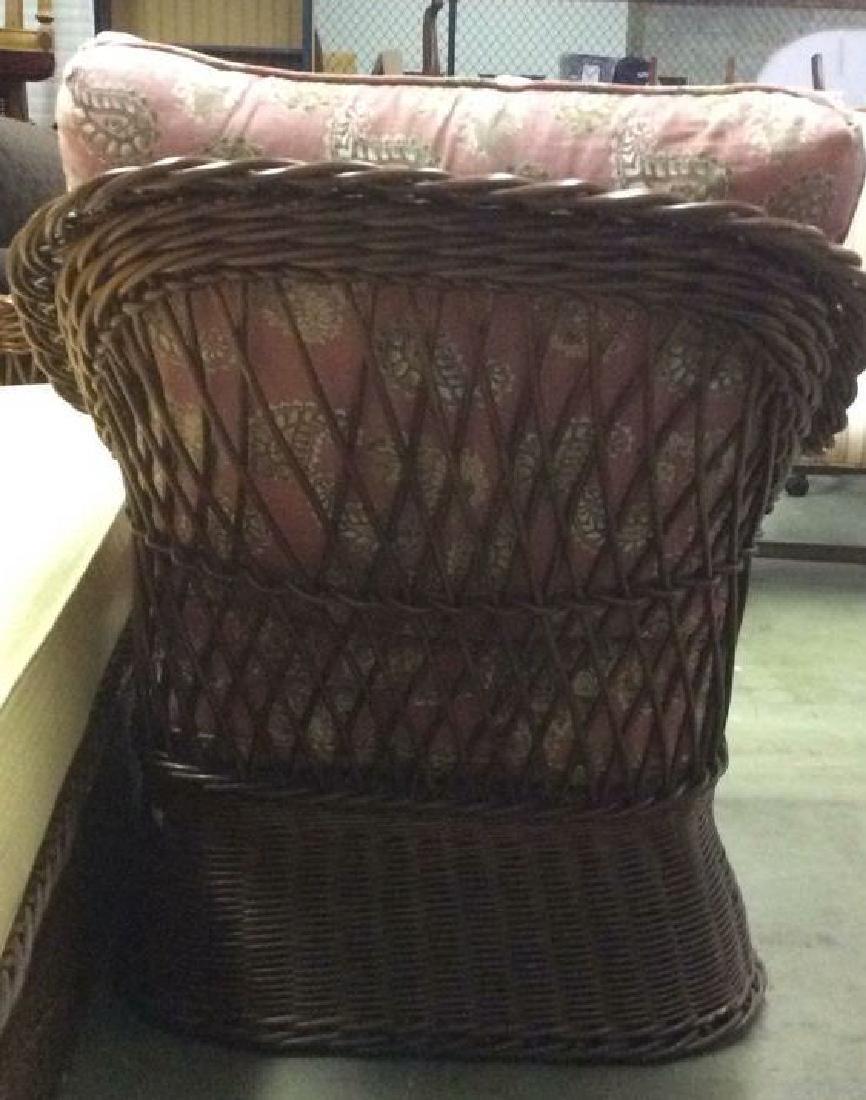 Vintage Set Wicker Rattan Arm Chairs W Cushions - 7