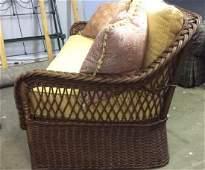 Vintage Wicker Rattan Sofa W Cushions & Pillows
