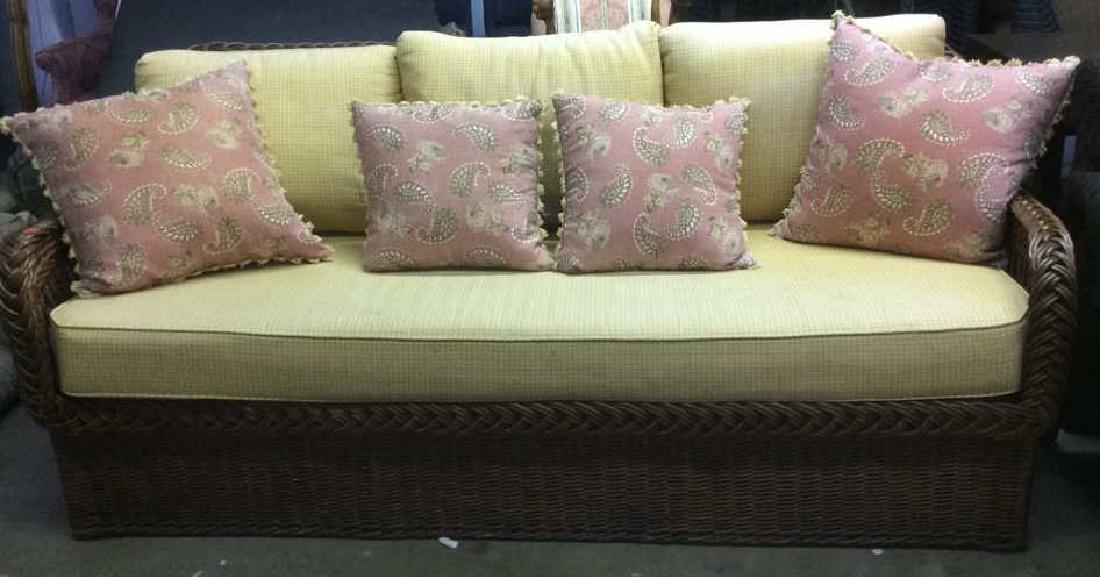 Vintage Wicker Rattan Sofa W Cushions & Pillows - 2