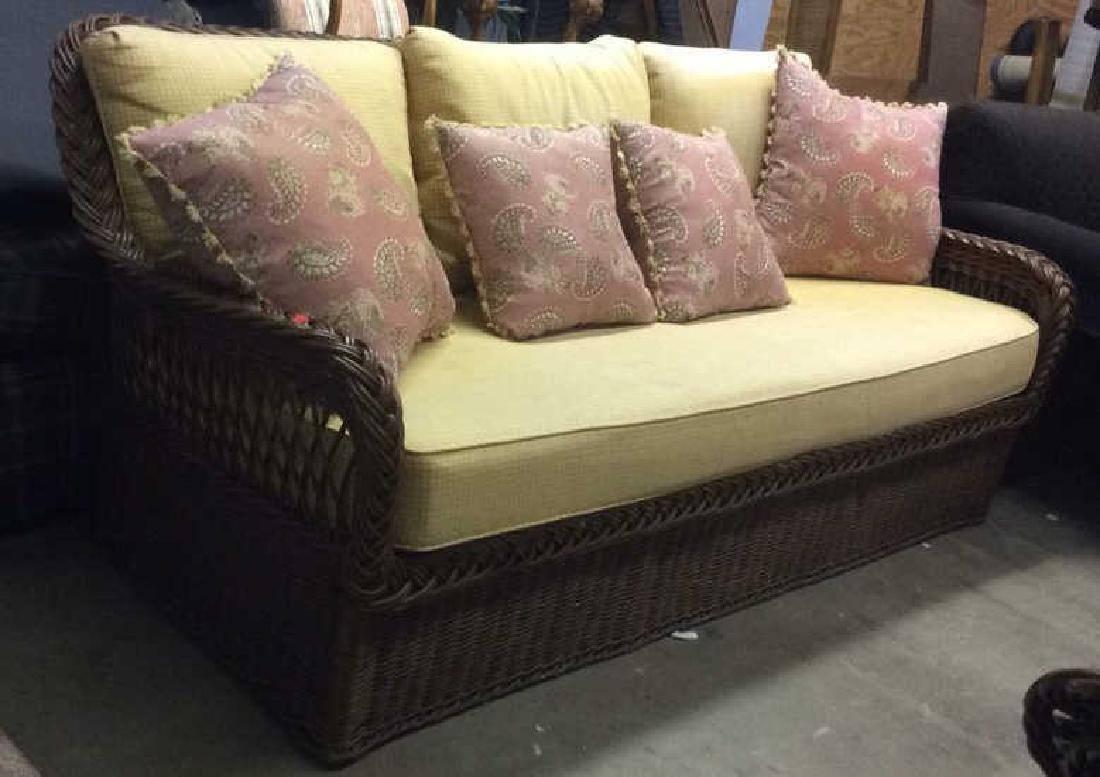 Vintage Wicker Rattan Sofa W Cushions & Pillows - 3