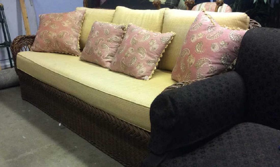 Vintage Wicker Rattan Sofa W Cushions & Pillows - 4