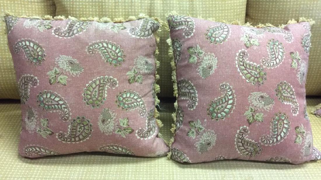 Vintage Wicker Rattan Sofa W Cushions & Pillows - 6
