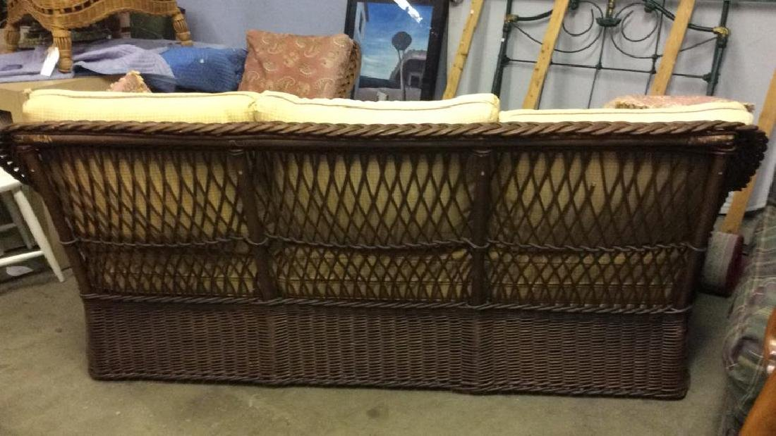 Vintage Wicker Rattan Sofa W Cushions & Pillows - 8