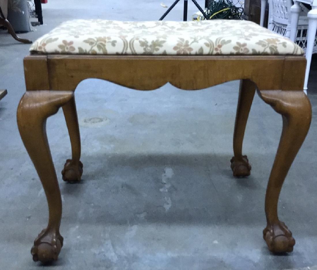 Vintage Wooden Footrest Upholstered Stool