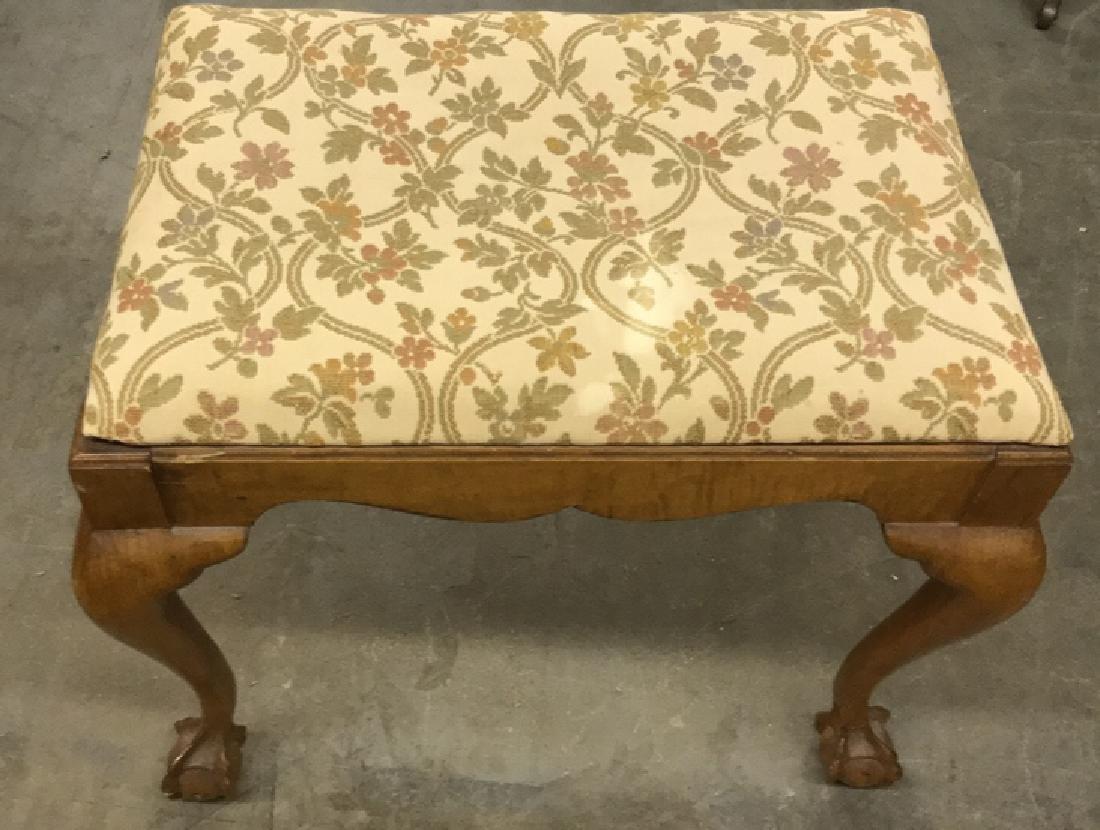 Vintage Wooden Footrest Upholstered Stool - 2