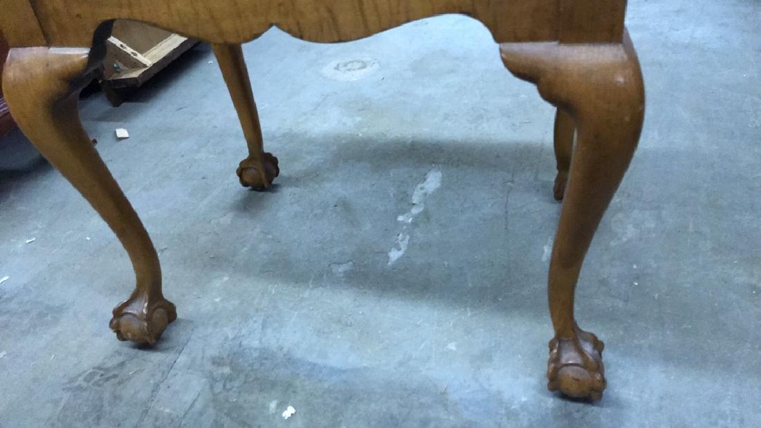 Vintage Wooden Footrest Upholstered Stool - 4