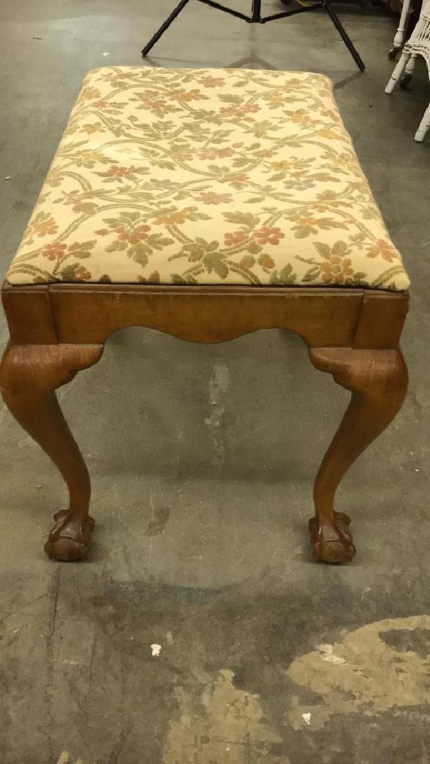 Vintage Wooden Footrest Upholstered Stool - 6