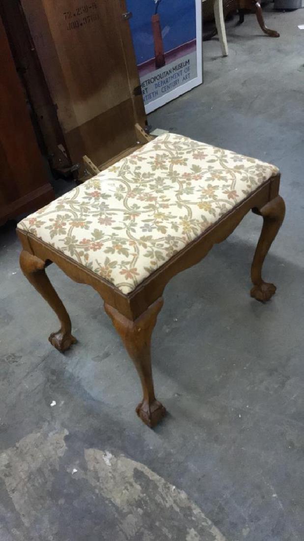 Vintage Wooden Footrest Upholstered Stool - 8
